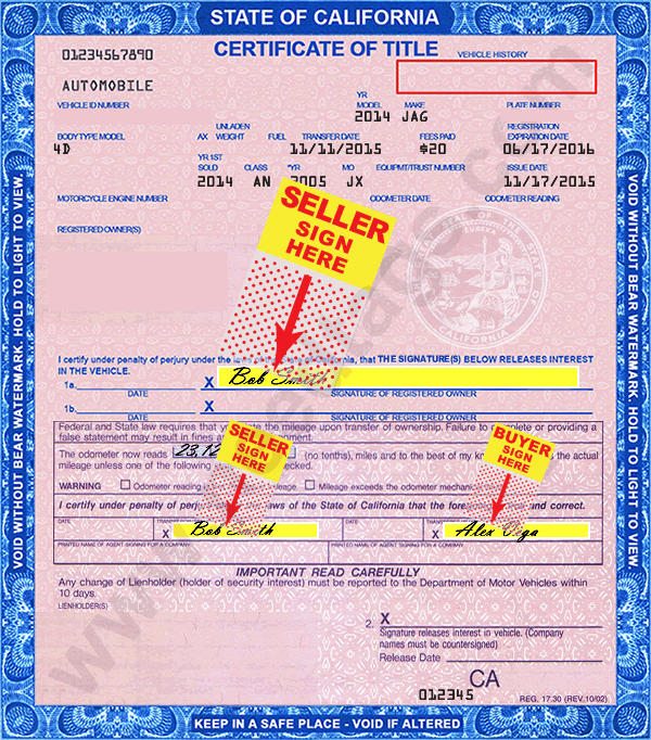 Where to sign California title when selling car